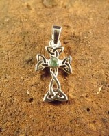 Emerald set  silver cross