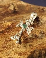 Emerald Set Silver Cross