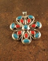 Large silver turqouise and red coral pendant