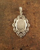Silver filagree style pendant for stone 14x10