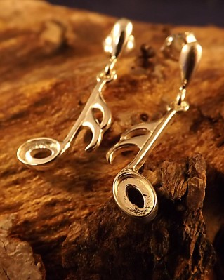 Music Note Earrings For 6x4 Stone