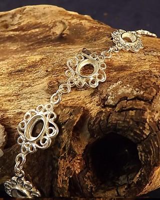 Silver Bracelet For Seven 7x5 Stones
