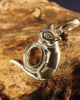 Silver Cat Pendant Mount For Setting 10x8 Cabochon