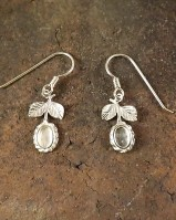 Silver Flower Drop Earrings For 6x4 Cabochon