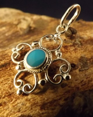 Fancy pendant with turquoise , cats eye or onyx