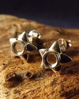 Silver Star Studs For 4mm Cabochon