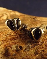 Silver Heart Studs With Turquoise Or Onyx