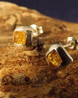 Square Silver Amber Set Studs