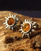 Silver Sun Studs With Amber