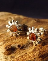 Silver Flower Studs Set With Amber