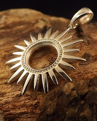 Silver sun pendant mount for 10mm stone mozeypictures Image collections
