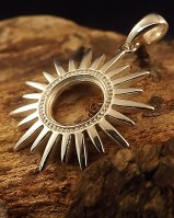 Silver Sun Pendant Mount For 10mm Stone
