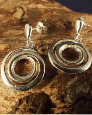 Fancy Silver Drop Earrings For 8mm Stone