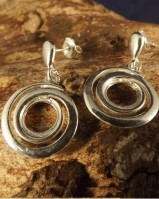 Fancy Silver Drop Earrings For 8mm Stone