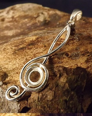 Silver Music Note Pendant Setting To Fit 6mm Stone
