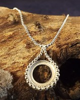 Silver Pendant Mount With Bead Edge for 13mm stone complete with chain