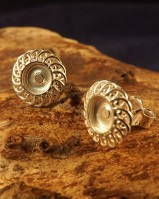 Fine Frill Edge Earring Settings for 6mm Stone