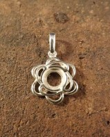 Fancy Silver Pendant Mount To Fit a 6mm cabochon