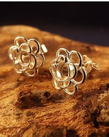 Silver Flower Style StudsTto Fit Cabochon 4mm