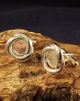 Silver Knot Style Cufflink Mounts For a 10mm cabochon
