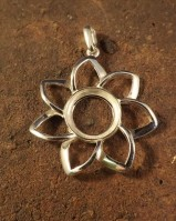 Large Silver  Fower Pendant For a 13mm stone