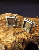 Picture Frame Style Cufflink Mounts To Fit 10mm square stone