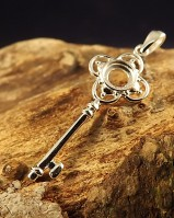 Silver key Pendant Setting To Fit 6mm Cabochon