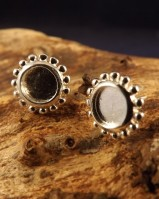 6mm Cabochon Silver Stud Settings