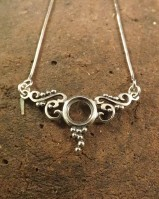 Antique Style Silver Pendant With Chain To fit 8mm Stone