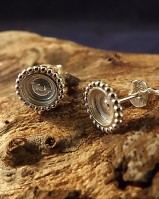Silver Stud With Bead Edge for 6mm Cabochon