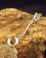 Long Silver Pendant Setting For 8mm Cabochon