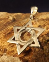 Silver star of david pendant for 10mm cabochon