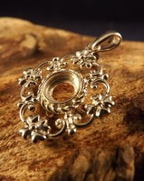 Silver Antique Style Pendant For 6mm Stone
