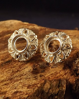 Silver Unset Stud Earring For 8mm Cabochon