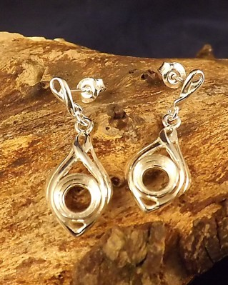 Silver Drop Earring Mounts To Fit 6mm Stones
