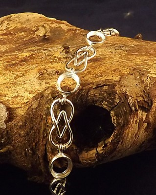 Celtic Style Silver Bracelet For 8x6 Cabochons