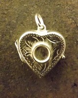 Silver Heart Locket Ready To Set Approx 6mm Cabochon