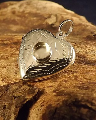 Silver Heart Locket Ready To Set 6mm Cabochon