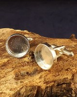 Silver Cufflink Blank For Round 13.8mm Stones Or Resin