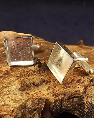 Square Cufflink Setting For Resin Or 14.5mm Stone