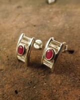 SILVER STUDS WITH RUBY