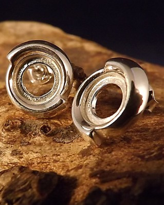 Heavy Silver Stud For 8mm Cabochon