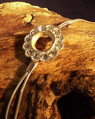 Silver Bracelet Set With c/z Ready To Take a 10mm Stone