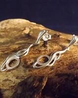 Silver Twist Drop Earrings To Fit 8x6 Cabochon
