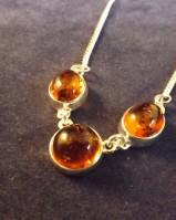 Amber three stone necklace
