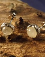 Silver earrings with white stone