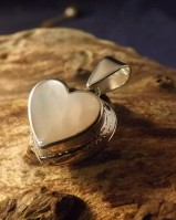 Heart locket with mother of pearl