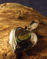 heart locket with abalone