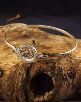 Silver Bangle With 10mm Cabochon Setting With CZ