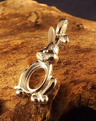 Silver Rabbit Pendant Mount For Cabochon Approx 10x8